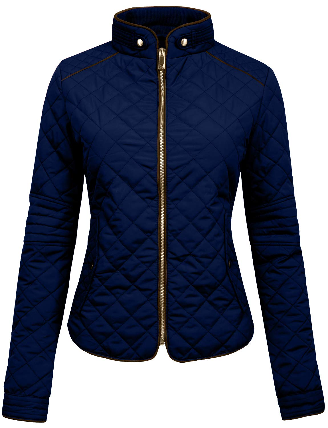 NE PEOPLE Womens Lightweight Quilted Zip Jacket, Large, NEWJ22NAVY