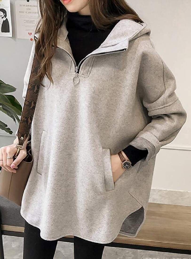 WSPLYSPJY Women Batwing Sleeve Boyfriend Hooded Casual Pullover Sweatshirts
