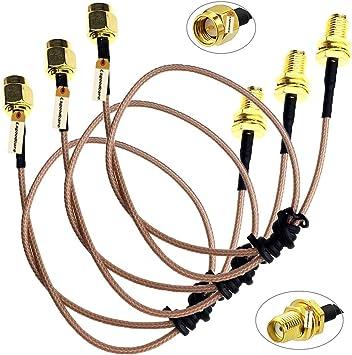 50 CM RG-174 SMA Male to SMA Female Bukhead Cable
