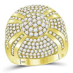 14KT Yellow Gold Mens Round Diamond Large Cluster Ring 3.60 Cttw