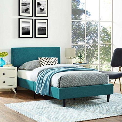 Modway MOD-5416-TEA Anya Bed, Twin, Teal - Spring Garden Twin Slat