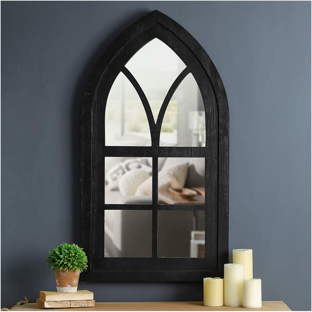 "Glitzhome Cathedral Arched Windowpane Wall Mirror Window Frame 40"" H, Black"