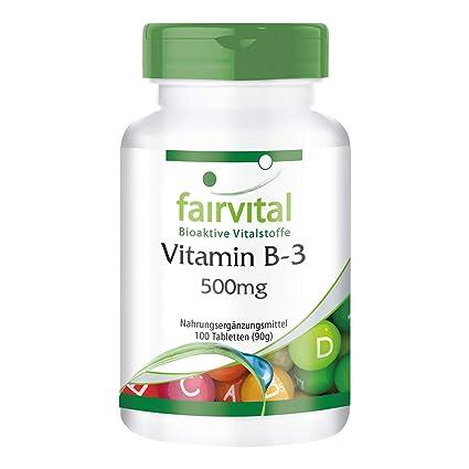 Vitamina B3 Niacina 500 mg - Bote para 100 días - VEGANO - Alta dosificación -