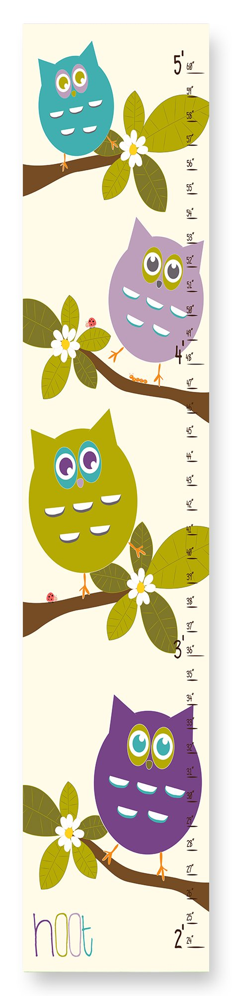 The Kids Room by Stupell Stupell Home Décor Cute Owls Whimsical Growth Chart, 7 x 0.5 x 39, Proudly Made in USA