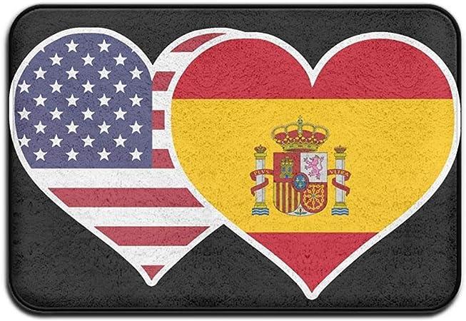KL Decor Alfombra Entrada,Alfombras Interiores Y Exteriores Alfombrilla para Puerta Bandera De España Americana Patrón De Diseño De Corazón para Baño De Cocina 50CMx80CM: Amazon.es: Hogar