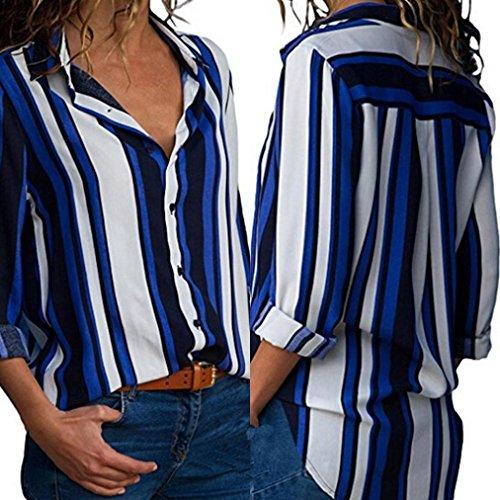 Imprim Longue Chemisier Blouse Tunique Bleua Bouton Imprim Manche Femme Col Top Femme Blouse Mousseline Top Mode XL Rayures S V 8wz0gnq