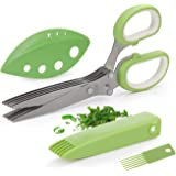 Joyoldelf Gourmet Herb Scissors Set - Master Culinary Multipurpose Cutting Shears with Stainless Steel 5 Blades…