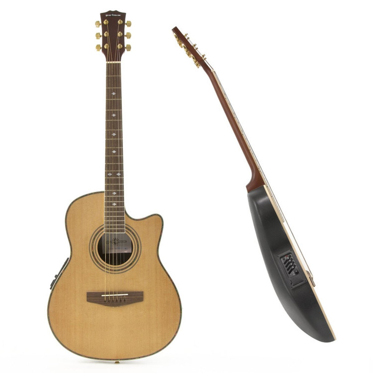Guitarra Electroacústica de Tapa Trasera Redonda + Pack con Ampli de 15W Natural: Amazon.es: Instrumentos musicales
