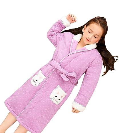 Camisones Bata de Noche Invierno Engrosamiento Infantil Princesa Bata de baño Larga Bata Pijamas de algodón