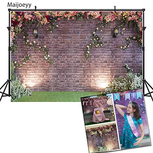 Maijoeyy 7x5ft Flower Backdrop Brick Wall Flowers Photography Backdrop Garden Backdrop for Picture Photography Props MJ-HJ02193-D1