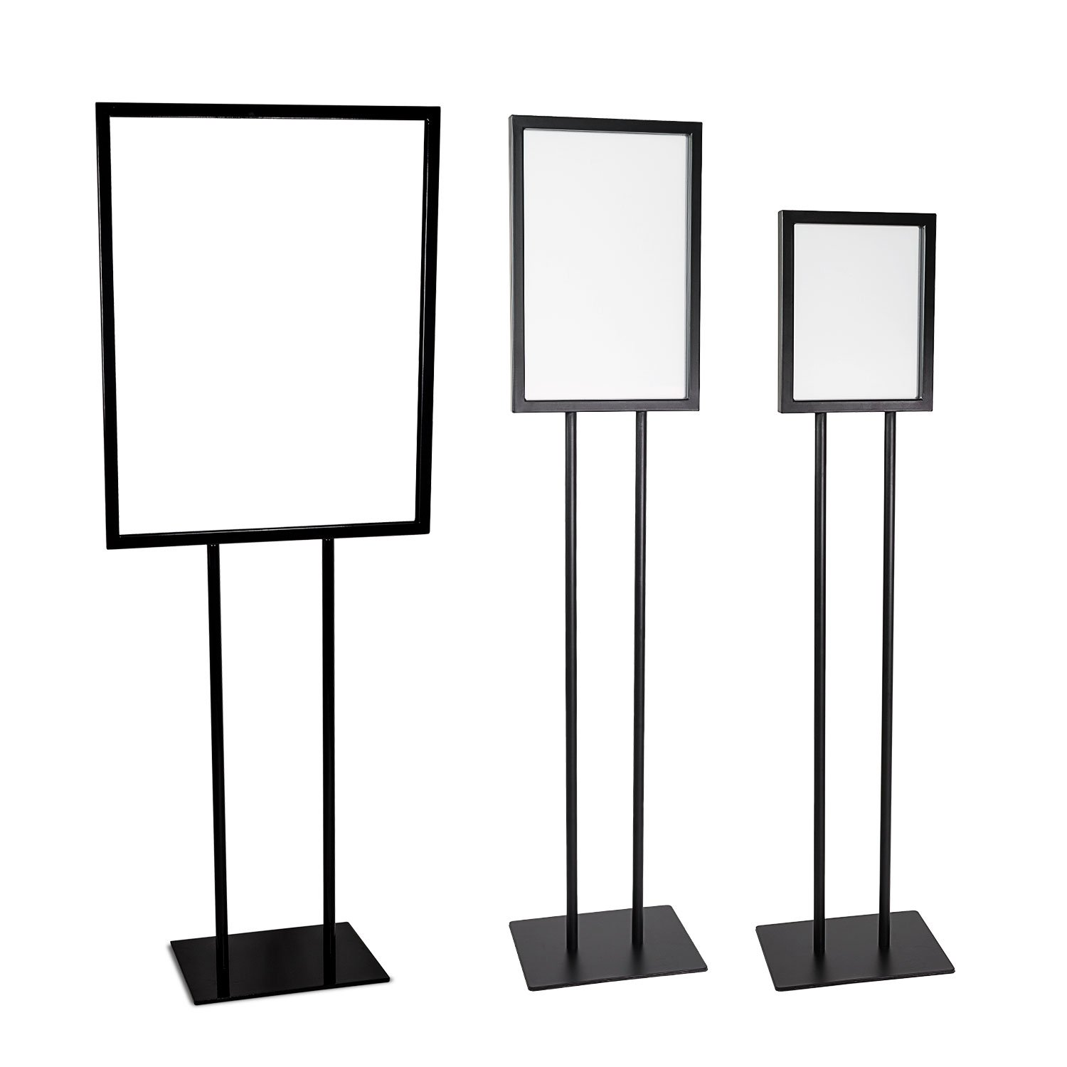 Source One Deluxe 22 x 28, 11 x 17, 8 1/2 x 11 Inch Floor Standing Sign Holders Multiple Colors Black, White & Gray Heavy Duty Weighted Metal (22 x 28 Inch, Black)