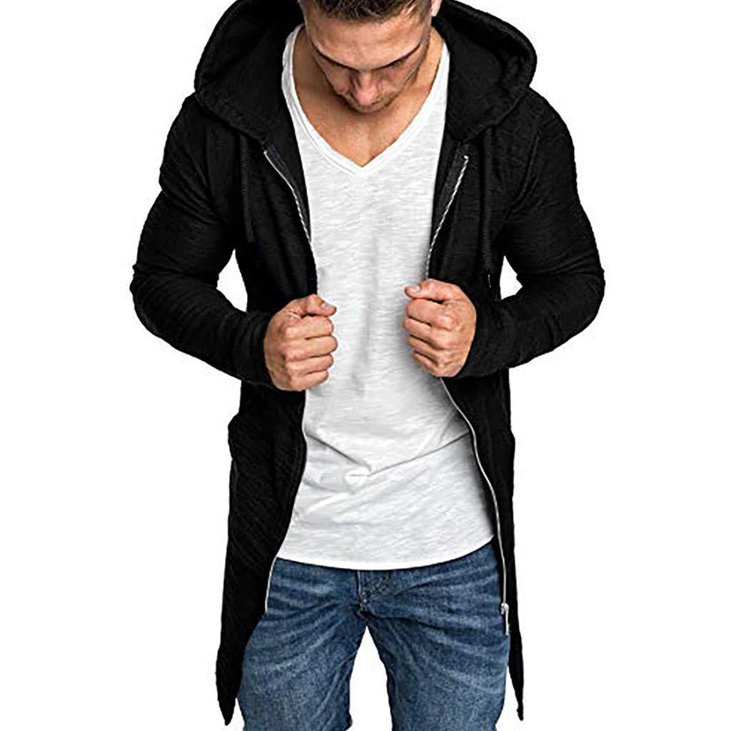 OMINA Mens Long Cardigan Sweatshirt Hoodie Slim Fit Winter Fashion Casual Trench Coat Long Sleeve Outwear Jacket