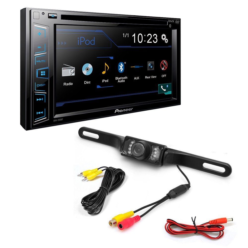 Pioneer AVH-290BT Double DIN Bluetooth In-Dash DVD/CD/AM/FM Car Stereo w/ 6.2'' WVGA Display + Night Vision Parking Reversing License Plate Car Rear View Camera