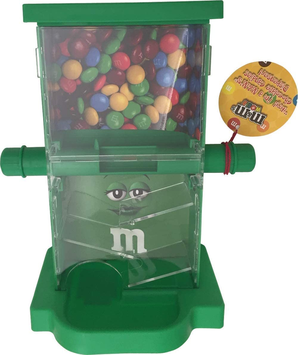 M&M Candy Dispenser ZIG ZAG with Storage Area, a Dispensing Bar and a Drog Area to Dispense Candies (Green)