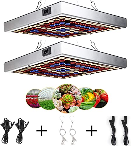 LED Grow Light for Indoor Plants, AmmToo LED Grow Light, 45W Panel Growing Lamp Full Spectrum with IR UV LED for Indoor Plants Seedling Vegetable and Flower Succulents 2PCS
