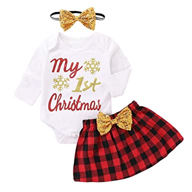 fe5688e0b85 Amazon.com  Girls Clothing Set Binmer My 1st Christmas Letter Printed Romper+Bow  Skirt+Headbands Christmas Outfit  Clothing