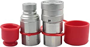 "LSQ-FF-04 1/2"" Skid Steer Bobcat Flat Face Hydraulic Quick Disconnect Coupling NPT1/2 Set Quick Connect Couplers with Red Dust Caps"
