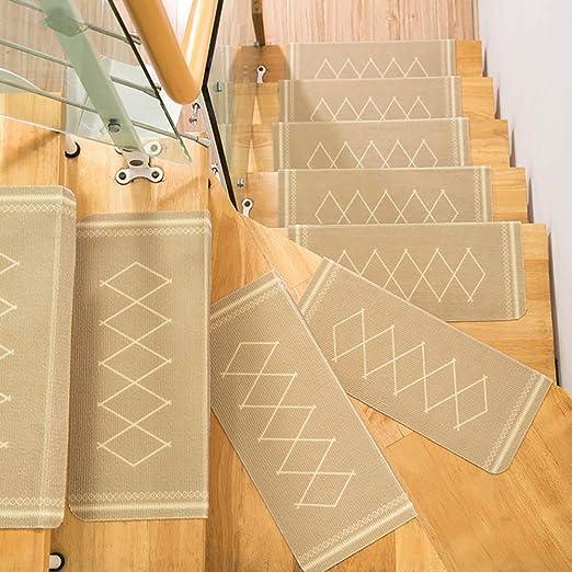 JQQJ - Alfombrillas para escaleras Lavables para moqueta, Alfombrillas Antideslizantes con Revestimiento Antideslizante, protección para Suelos autoadhesivos (15 Unidades, Beige): Amazon.es: Hogar
