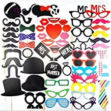 58pcs Photo Booth Props Party Photo Panel Set Photobooth Dress-up Party Accessories for Wedding Baby Birthday Christmas Anniversary Newborn Decor [Pipe Tobacco Crowns Ties Hats etc]