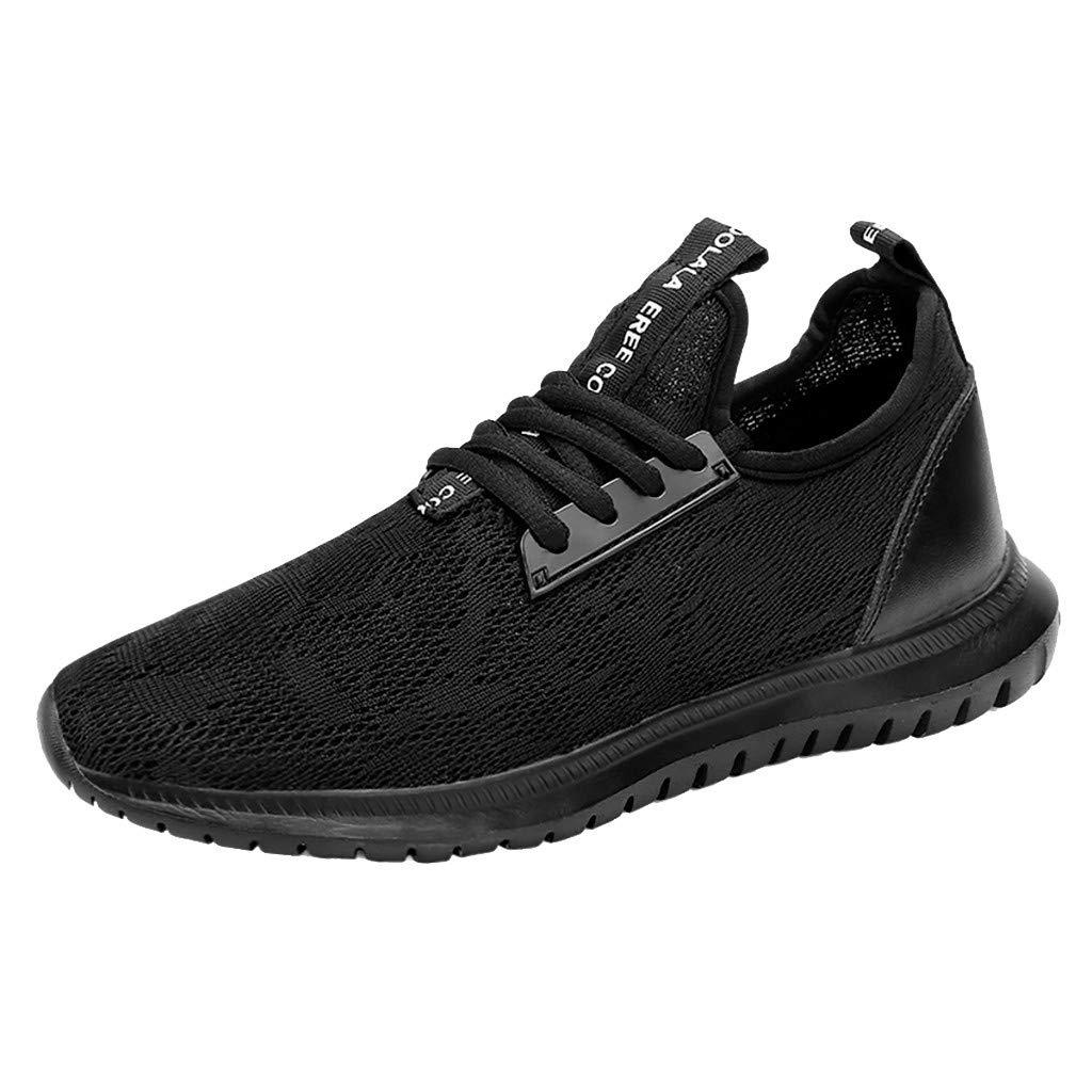 NUWFOR Men's Women抯 Comfortable Leisure Mesh Beathing Athletic Sport Sneakers Shoes(Black,8.5 M US Length:10'')