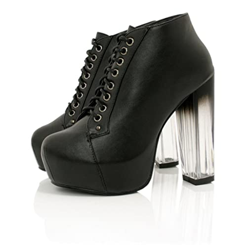 Botas Botines Tacón de Bloque Plataforma con Cordones Negro: Amazon.es: Zapatos y complementos