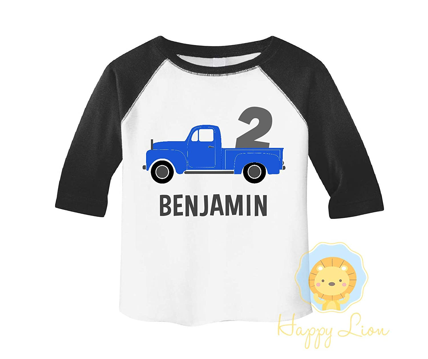 e3e6eab47 Amazon.com: Happy Lion Clothing - Toddler Boys Blue Truck Birthday shirt  3/4 sleeve raglan: Handmade