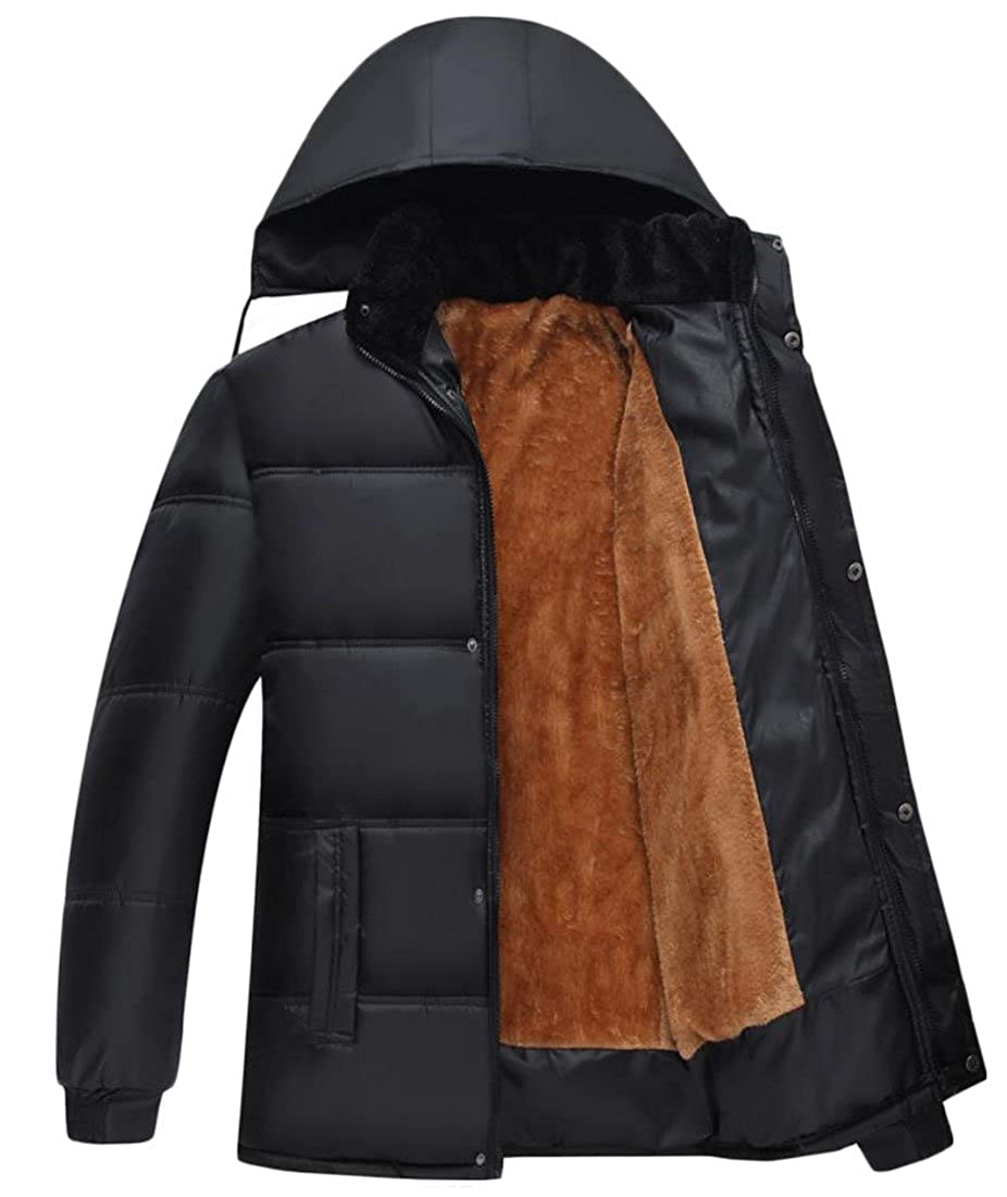 Jmwss QD Mens Winter Casual Solid Color Hoodie Thicken Warm Padded Down Jacket Coat