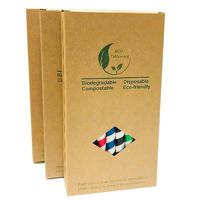 Pajitas de papel boba bebida de rayas coloridas de 10 mm, gran pajitas de color verde/rojo/azul/negro, embarque en total 32 unidades de caja: Amazon.es: ...