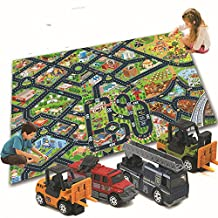 Sirwolf 6PC Smart Kids' Rug With Roads Kids Rug play mat City Street Map Children Learning Carpet Play Carpet Kids Rugs Boy Girl Nursery Bedroom Playroom Classrooms Play Mat Children's Area Rug
