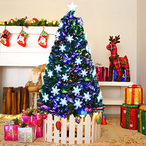 Goplus 6FT Artificial Christmas Tree Pre-Lit Fiber Optic Premium Spruce Hinged Tree W/UL Certified Multicolored LED Lights & Metal ()