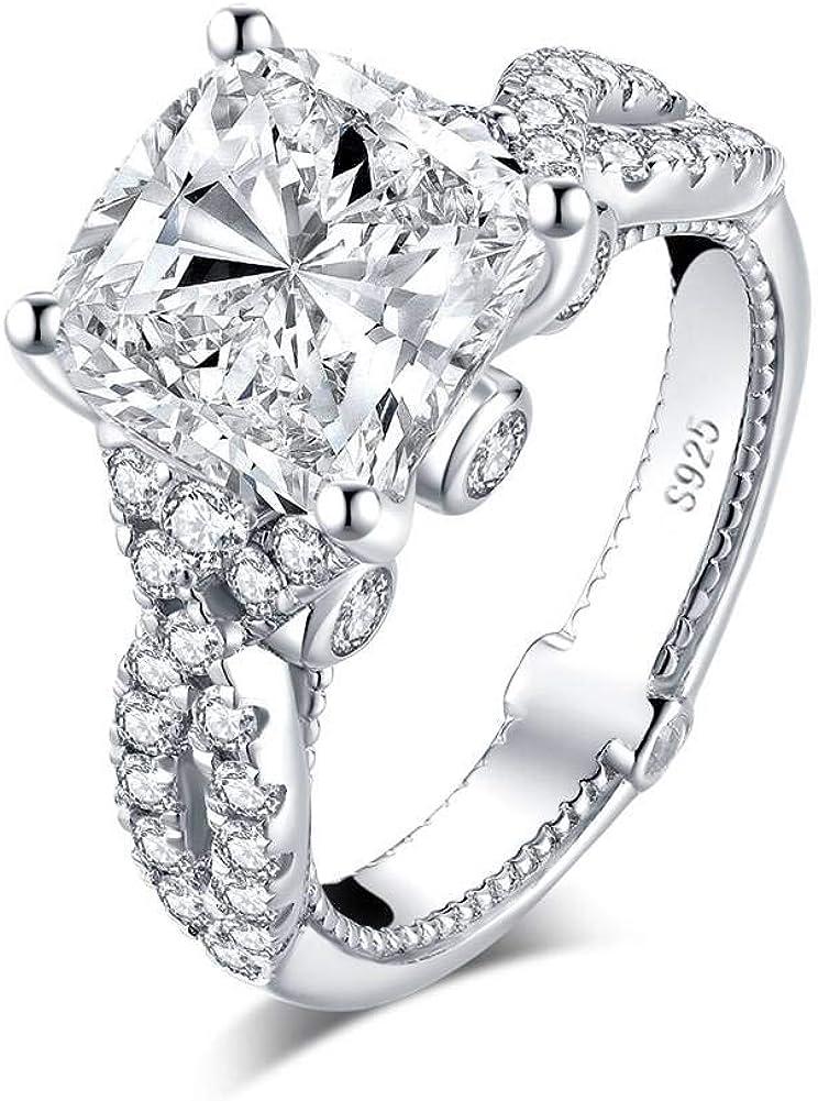 YUNKAI 5 Carat Cushion cut 10x10mm 5A + SONA Cubic Zirconia Engagement Ring for Women, Platinum Plated 925 Sterling Silver CZ Wedding Ring