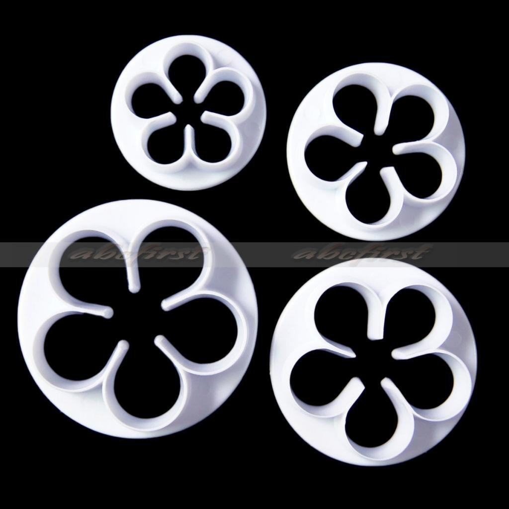JIANGLI 4Pcs/Set Rose Flower Petal Shape Plungers Cutters for Cake and Cookies (White)