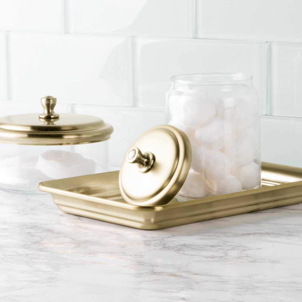 InterDesign Guest Towel Holder Tray for Bathroom - Soft Brass