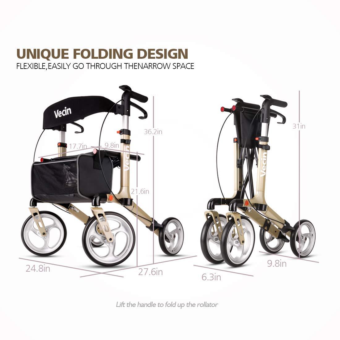 Amazon.com: Vecin - Andador plegable con asiento y bolsa ...