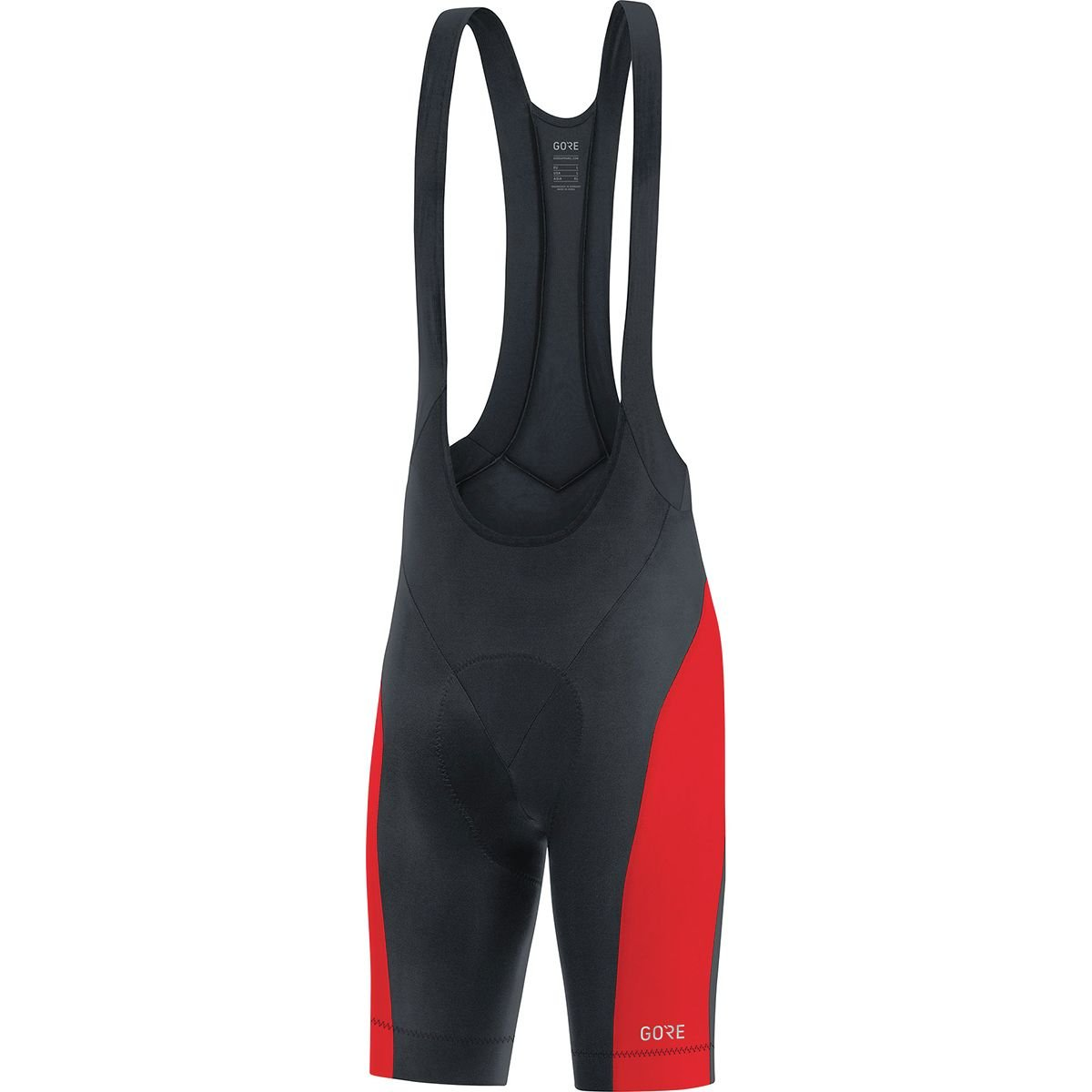 GORE WEAR C3 Men's Cycling Bib Shorts with Seat Insert, Size: L, Color: Black/Rot
