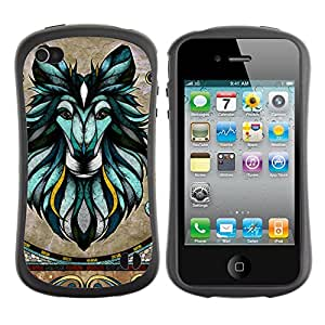 Hybrid Anti-Shock Bumper Case for Apple iPhone 4 4S / Majesti Animal Mosaic Art
