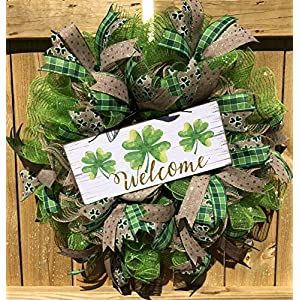 Rustic St. Patrick's Day Wreath | Shamrock Decor | Welcome Door Hanger | Wall Decor | FREE Shipping | Burlap Bowtique 25