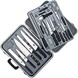 Victorinox 24-Piece Gourmet Knife Set, Black Fibrox Handles with Attache Case