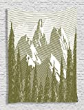 Ambesonne Snowy Nature Decorations Collection, Spring and Summer Trees Wilderness Woods Artistic Art Print, Bedroom Living Kids Girls Boys Room Dorm Accessories Wall Hanging Tapestry, Khaki White