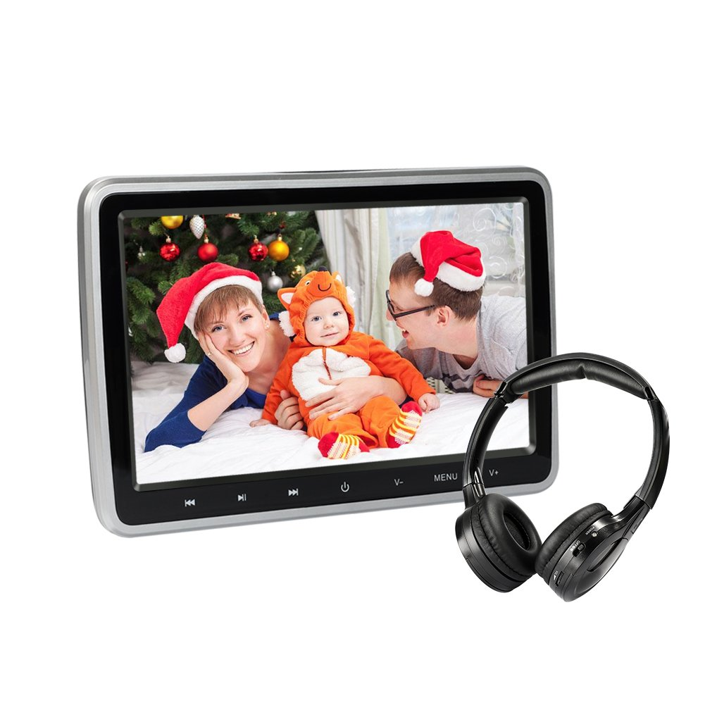 Car DVD Player with Headphone, 10.1 inch Screen Headrest DVD Player, in Car Entertainment System for Kids with Remote HDMI USB SD FM (CL101DVD-H)