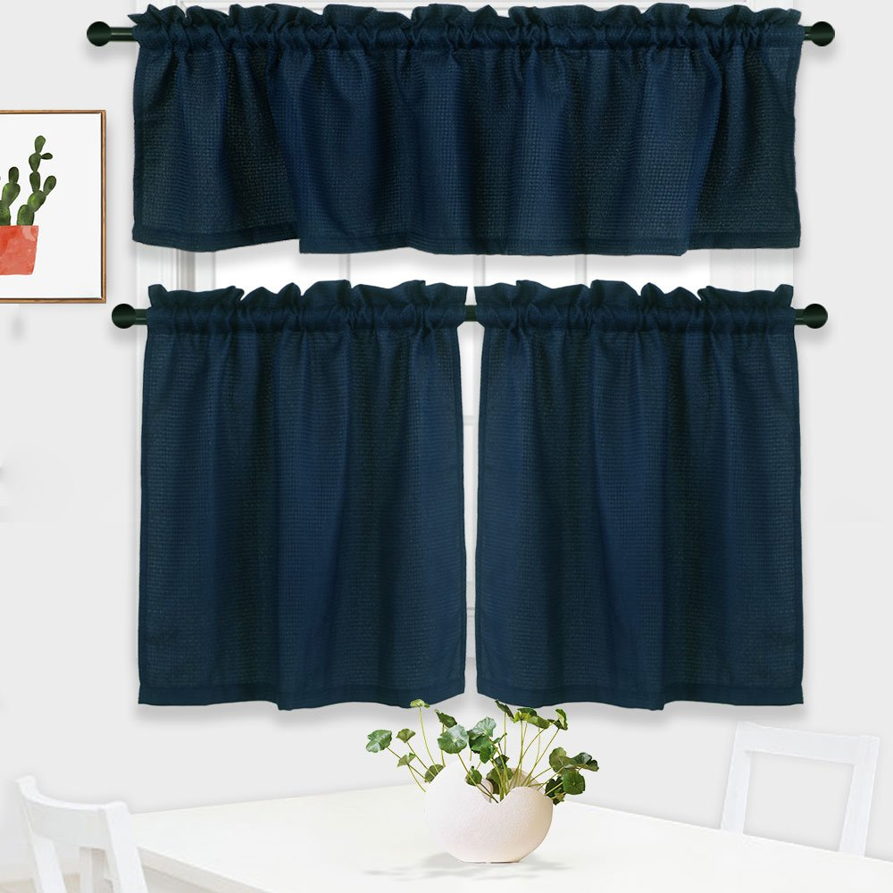 NANAN 3 Pieces Waffle Woven Tier Curtains and Valance Set,Half Window Curtains for Bathroom Waterproof Kitchen Window Treatment Set,Navy Blue
