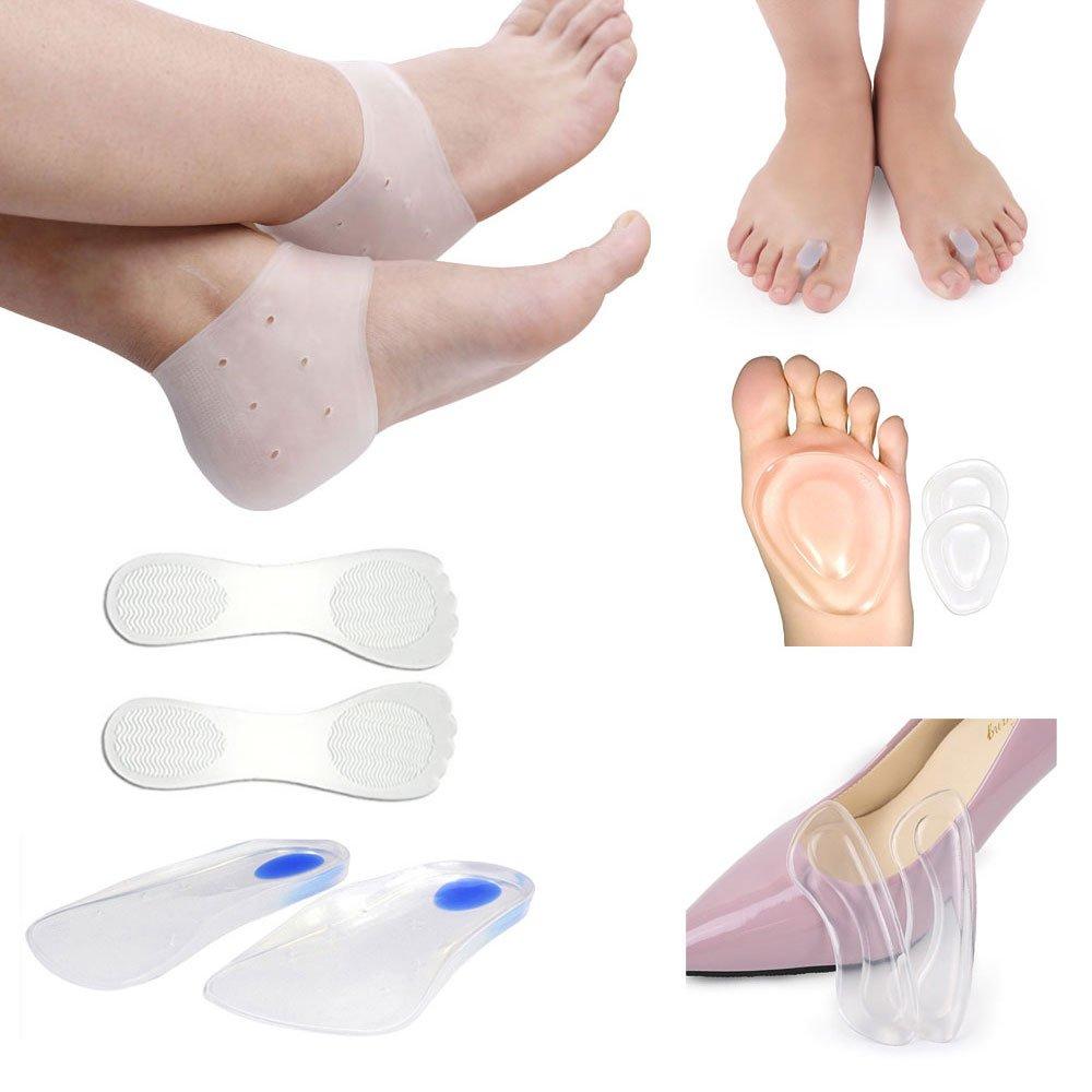 Tcare— 6 in 1 foot care, Foot Massage Care High Heels Insoles, Metatarsal Pads, Ball of Foot Cushions, Heel Back Pads, Moisturizing Gel Heel Socks, Gel Toe Separators for women