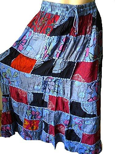 Falda Maxi hippie tribal de la falda del vientre del vientre Banjara NUEVO PATCHWORK P4