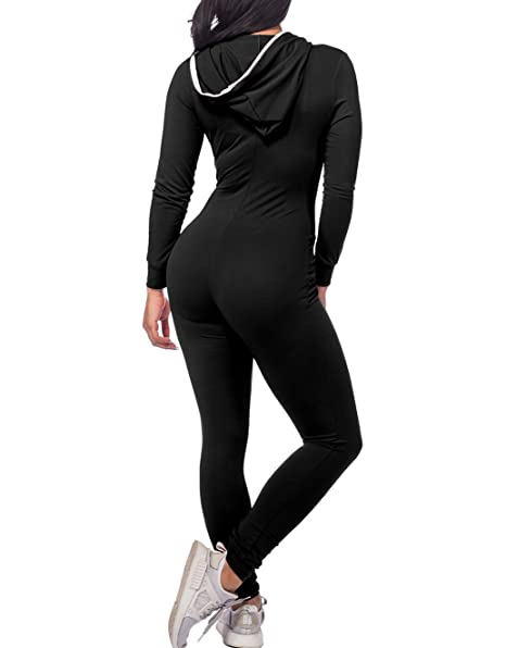 f43a9345ee9 Amazon.com  CoolooC Women s Hoodie Long Sleeve Zip Up Pockets Sexy Onesies  Bodycon Jumpsuits Romper Bodysuits Outfit Black Red  Clothing