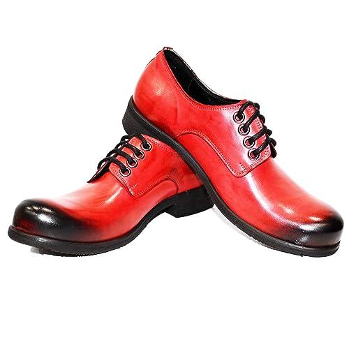 Modello Dendryss - 40 - Cuero Italiano Hecho A Mano Hombre Piel Rojo Zapatos Vestir Oxfords