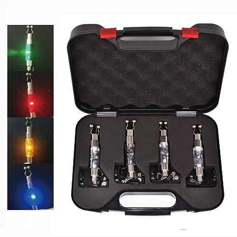 4 anzuelos iluminados para pesca de carpa Hirisi Tackle® con indicador rojo/amarillo/verde/azul en estuche con conector para alarma de pesca