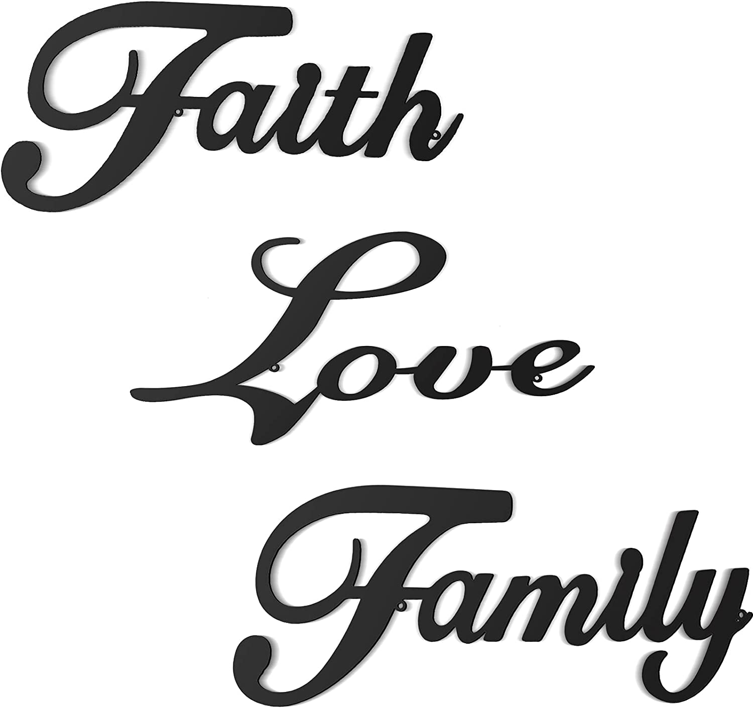3 Pieces Metal Word Sign, Black Rustic Faith Family Love Wall Art Sign Vintage Farmhouse Metal Wall Word Sculpture for Home, Office, Living Room Decor