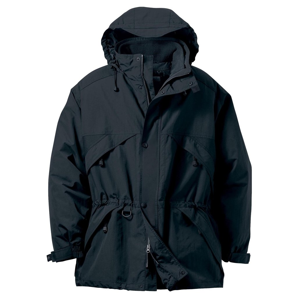 Ash City Mens 3-in-1 Parka with Dobby Trim (X-Small, Black)