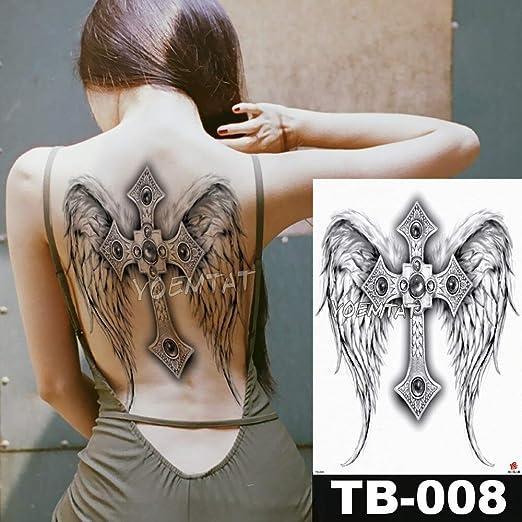 tzxdbh 48 * 35 cm Ángel alas Cruzadas Grandes Pegatinas de Tatuaje ...