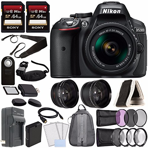 Nikon D5300 DSLR Camera with 18-55mm AF-P DX Lens (Black) + Battery + Charger + Sony 64GB Card + HDMI + Backpack Case + Remote Bundle ()